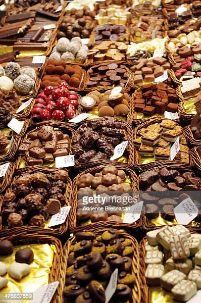 An endless array of chocolates at the Mercat de Sant Josep de la Boqueria, located on La Rambla in Barcelona, Spain. Originally an open-air market...