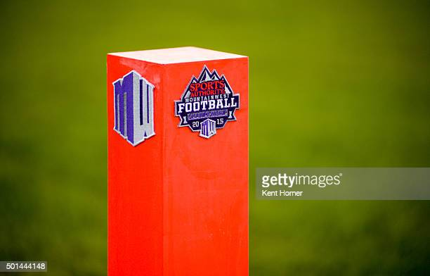 An endzone corner marker on the field prior to the start of the San Diego State Aztecs playing the Mountain West Championship game against the Air...
