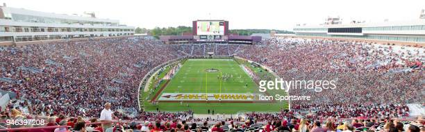 An end-zone overview of Bobby Bowden Field and Doak Campbell Stadium during the Florida State spring football game at Bobby Bowden Field at Doak...