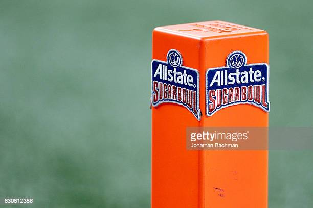 An endzone pylon is seen prior to the Allstate Sugar Bowl at the MercedesBenz Superdome on January 2 2017 in New Orleans Louisiana