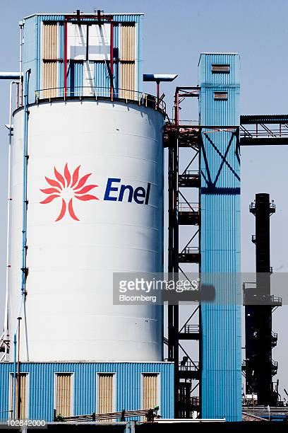 An Enel SpA logo is seen on a storage tank at the world's first industrialscale hydrogen plant owned by Enel SpA in Fusina near Venice Italy on...