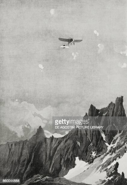 An enemy aeroplane during a reconaissance tour over the Italian positions between the peaks of the Dolomites being shot by antiaircraft batteries...
