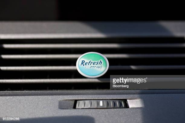 An Energizer Holdings Inc Refresh Your Car brand air freshener sits in a vehicle air vent in Tiskilwa Illinois US on Tuesday Jan 30 2018 Energizer...