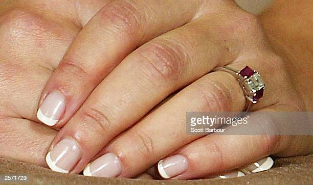 An engagement ring is seen on the finger of Mary Elizabeth Donaldson as she sits next to His Royal Highness Crown Prince Frederik of Denmark during a...