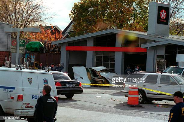 An engine from American Airlines Flight 587 lies on the grounds of the Texaco gas station in the Rockaways Queens near JFK airport The jetliner was...