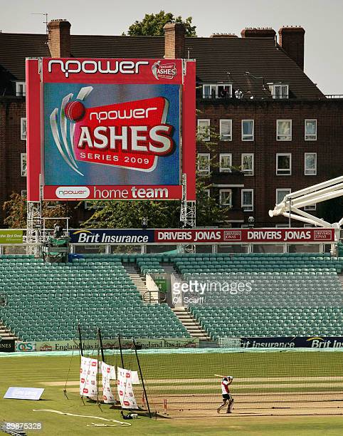 An England cricketer practices in the nets at the Oval cricket ground on the day before the final deciding test of the Ashes series on August 19,...
