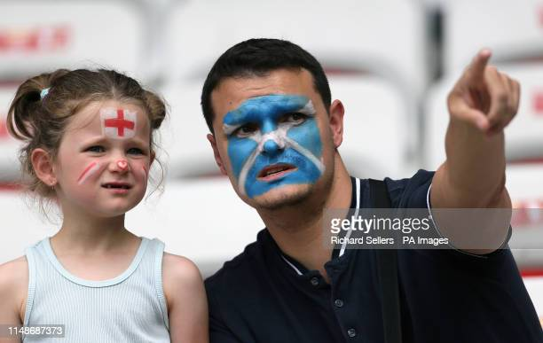 An England fan and a Scotland fan during the FIFA Women's World Cup Group D match at the Stade de Nice