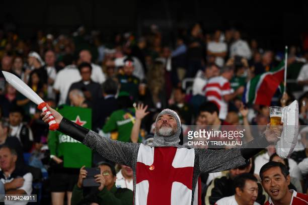An England fan awaits the start of the Japan 2019 Rugby World Cup final match between England and South Africa at the International Stadium Yokohama...