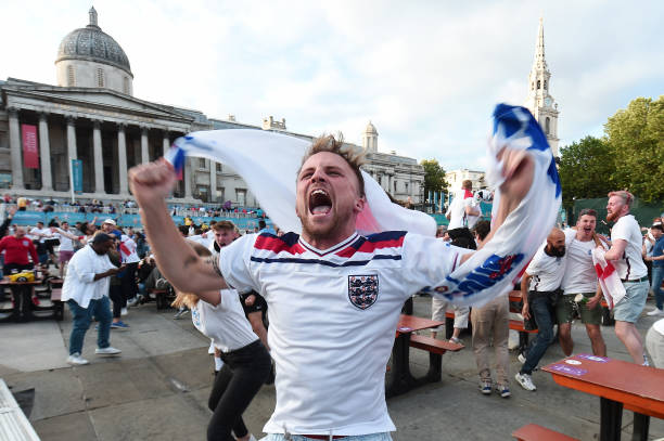 GBR: Fans watch Ukraine v England in London