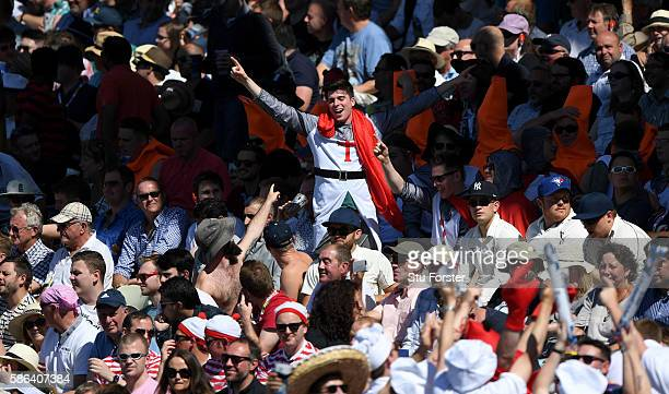 An England fan enjoys himself during day 4 of the 3rd Investec Test match between England and Pakistan at Edgbaston on August 6 2016 in Birmingham...