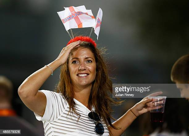 An England fan enjoys the atmosphere during the 2nd NatWest T20 of the Women's Ashes Series between England and Australia Women at...