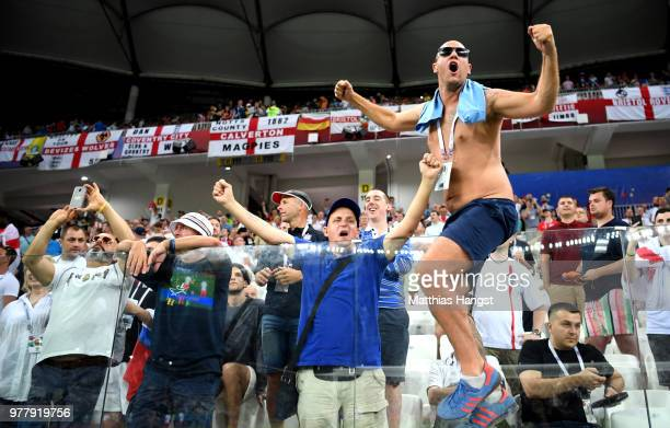 An England fan enjoys the prematch atmosphere ahead of the 2018 FIFA World Cup Russia group G match between Tunisia and England at Volgograd Arena on...