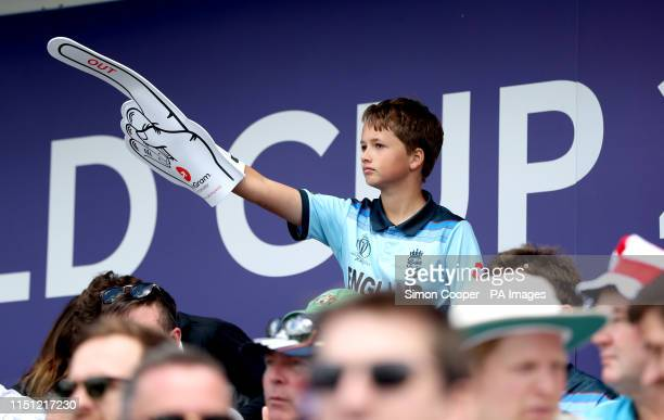 An England fan in the stands with a foam finger during the ICC Cricket World Cup group stage match at Headingley Leeds