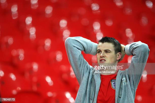 An England fan looks dejected after the Euro 2008 Group E qualifying match between England and Croatia at Wembley Stadium on November 21 2007 in...