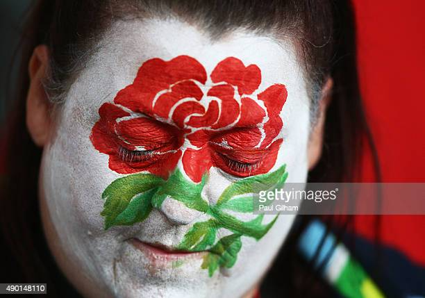 An England fan looks on prior to the 2015 Rugby World Cup Pool A match between England and Wales at Twickenham Stadium on September 26 2015 in London...
