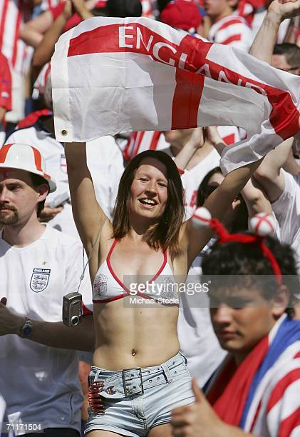 An England fan waves her flag during the FIFA World Cup Germany 2006 Group B match between England and Paraguay at the Stadium Frankfurt on June 10...