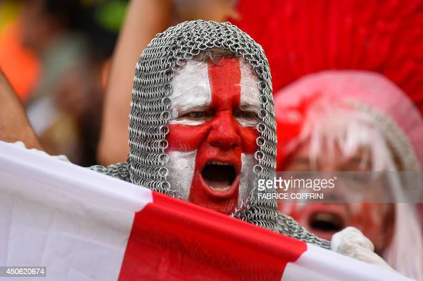 An England fan with his face painted in the colours of his national flag and wearing a chain mail costume cheers prior to a Group D football match...