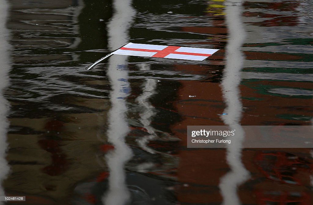 An England flag floats in a Manchester Canal after England lose 4-1 to Germany on June 27, 2010 in Manchester, England. England were knocked out of the FIFA 2010 World Cup competition by 4 goals to 1 in South Africa