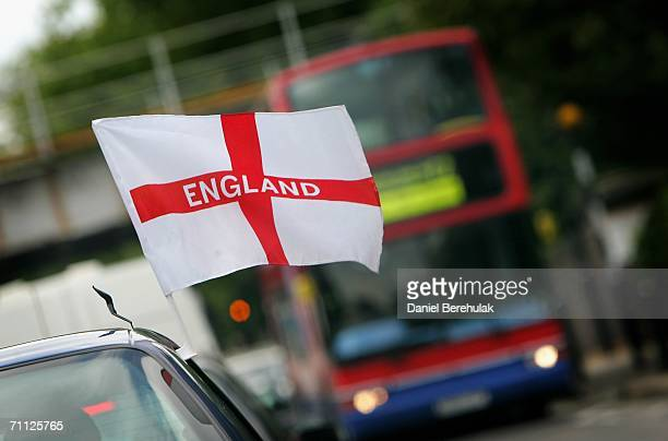 An England flag to support the English team for the upcoming soccer World Cup in Germany is pictured on a car on June 5 2006 in London England The...