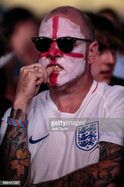 An England football fan looks on at extra time during the Hyde Park screening of the FIFA 2018 World Cup semifinal match between Croatia and England...