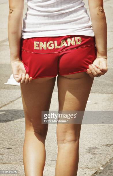An England football supporter wears her team shorts at the stadium on June 15 2006 in Nuremberg Germany England will face Trinidad and Tobago in...