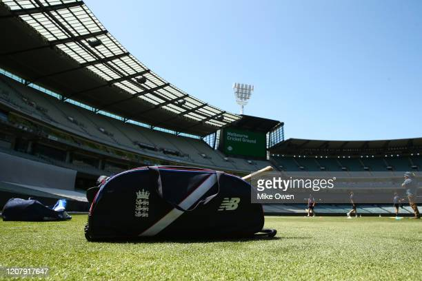 An England Lions gear bag is seen during the Four Day match between Australia A and the England Lions at Melbourne Cricket Ground on February 22 2020...