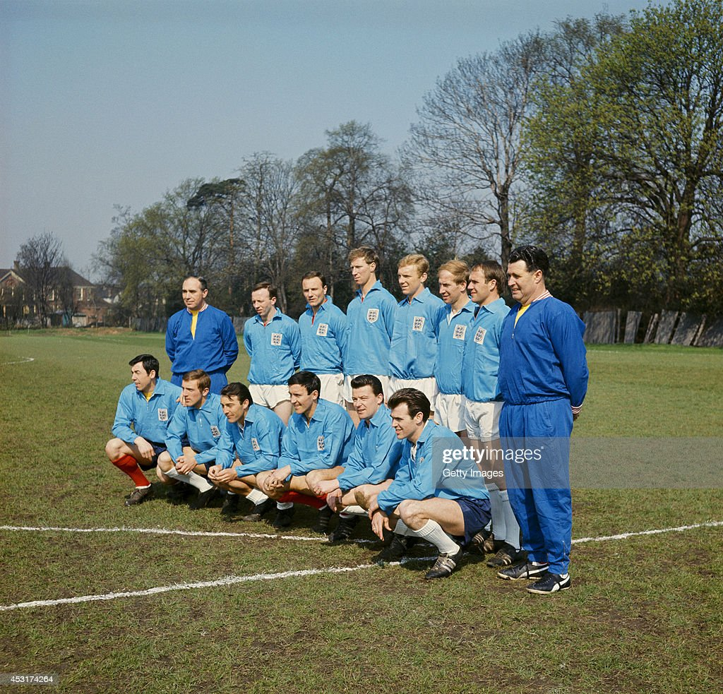 An England squad from 1966 pose including Alf Ramsey (back row left) Jack Charlton (4th left back row) Bobby Moore (back row 4th right) Bobby Charlton (back row 3rd right) and Gordon Banks
