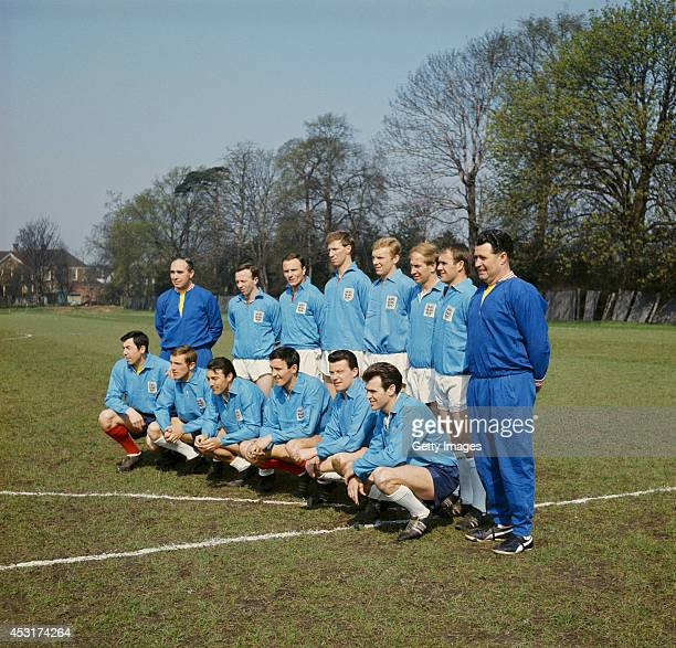 An England squad from 1966 pose including Alf Ramsey Jack Charlton Bobby Moore Bobby Charlton and Gordon Banks