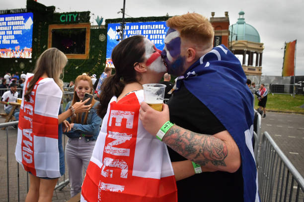 GBR: England Football Fans Support Their Team Against Scotland In Euro 2020