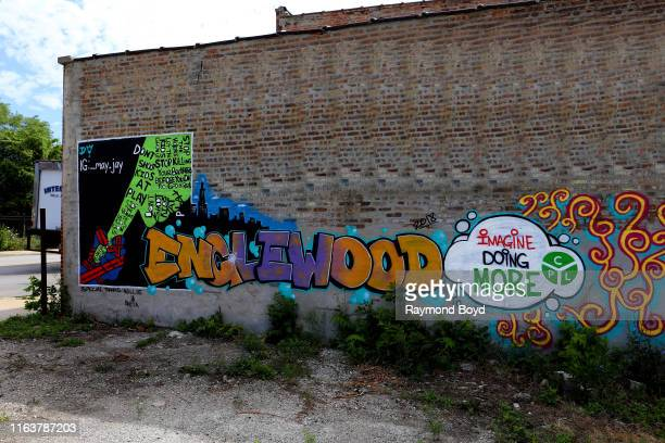 An Englewood mural is displayed in the Englewood neighborhood in Chicago Illinois on July 22 2019