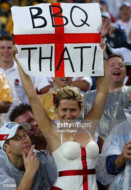 An English fan enjoys Englands victory during the Rugby World Cup Final match between Australia and England at Telstra Stadium November 22 2003 in...