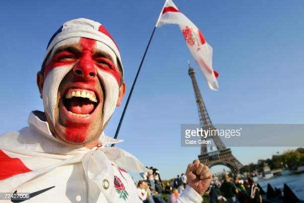 An English fan infront of the Eiffel Tower while he soaks up the atmosphere in the build up to the World Cup Final 2007 on October 20 2007 in France...