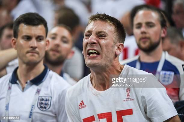 An English fan looks dejected during the Semi Final FIFA World Cup match between Croatia and England at Luzhniki Stadium on July 11 2018 in Moscow...