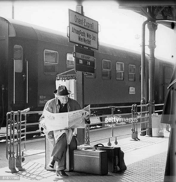 An English frequenter of the Salzburg Festival waiting at the Salzburg train station on the Orient Express 1963 By Barbara Pflaum