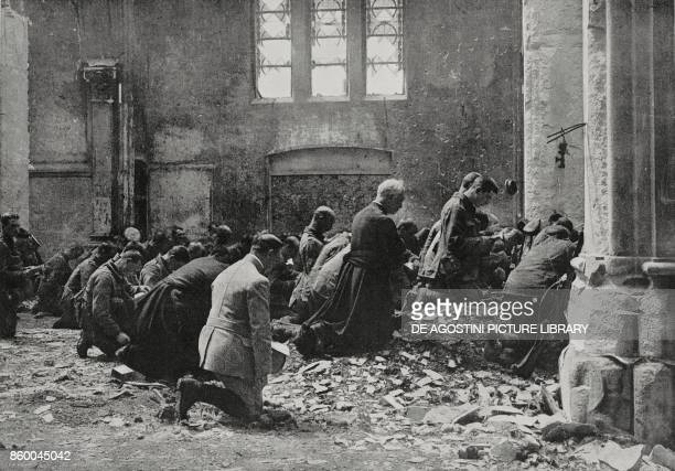 An English religious function celebrated by the old parish priest of a village in northern France World War I from L'Illustrazione Italiana Year XLII...