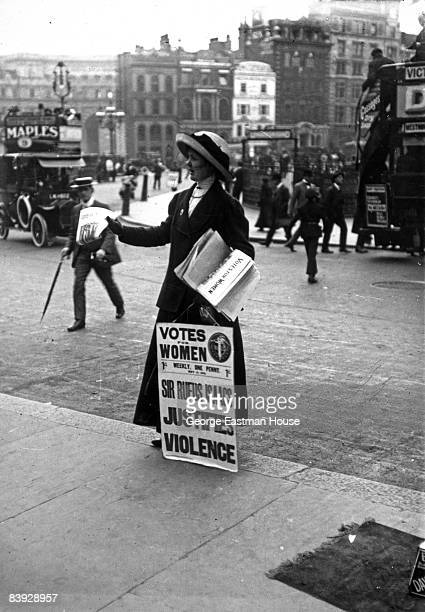 An English suffragette demonstrating in favor of votes for women and protesting comments made by Sir Rufus Isaacs 1900s United Kingdom