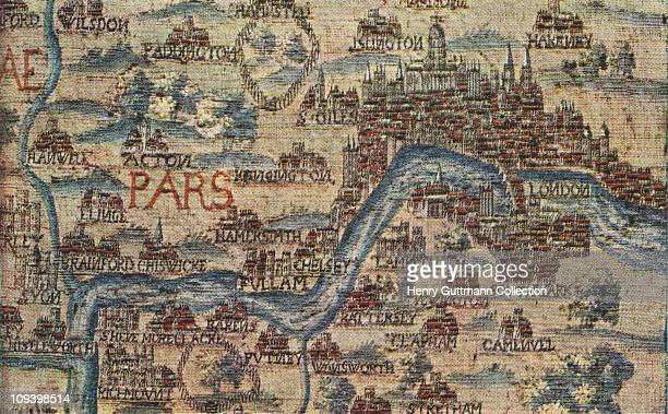 An English tapestry map of London from the mid 17th century Property of the Yorkshire Philosophical Society on display at the Victoria and Albert...