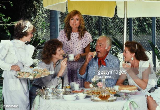 An English tea party in Beverly Hills enjoyed by Lynn Redgrave a British actress, Samantha Juste a British television personality was married to...