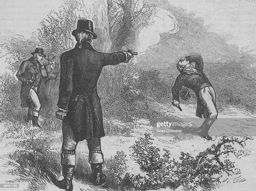 An engraved illustration of The Burr�Hamilton duel, this was a duel between two prominent American politicians, the former Secretary of the Treasury Alexander Hamilton and sitting Vice President Aaron Burr, on July 11 1804