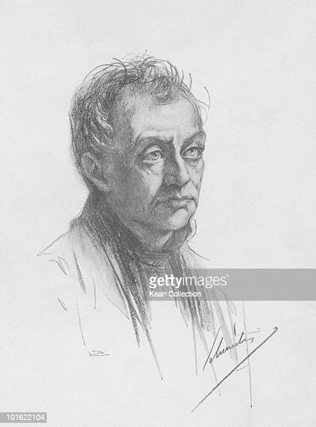 An engraved portrait of French philosopher and founder of positivism Auguste Comte circa 1840s