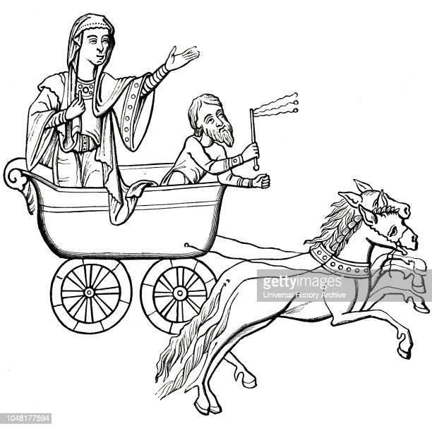 An engraving after a 9thcentury manuscript depicting a carruca drawn by two horses Dated 19th century