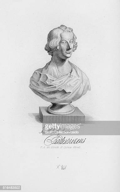 An engraving based on a bust of Charles Dickens he was a writer and social critic from Victorian era England he is still critically lauded for his...