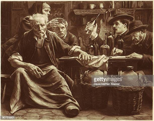 An engraving by Buland showing a home distiller being questioned by excise agents