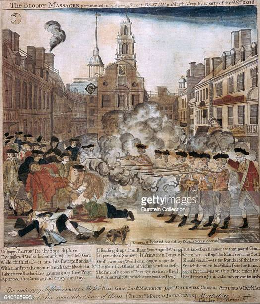 An engraving by Paul Revere of the Boston Massacre A line of British Soldiers fires on a crowd of unarmed colonists The massacre was used by...