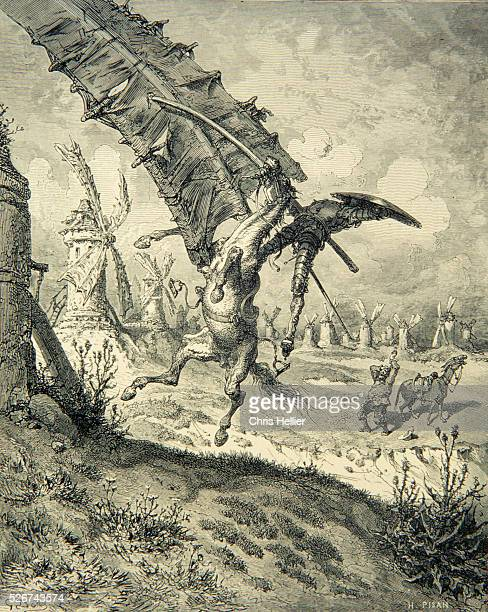An engraving by the French printmaker Gustave Dore of Adventure With the Windmills a scene from Miguel de Cervantes' novel Don Quixote