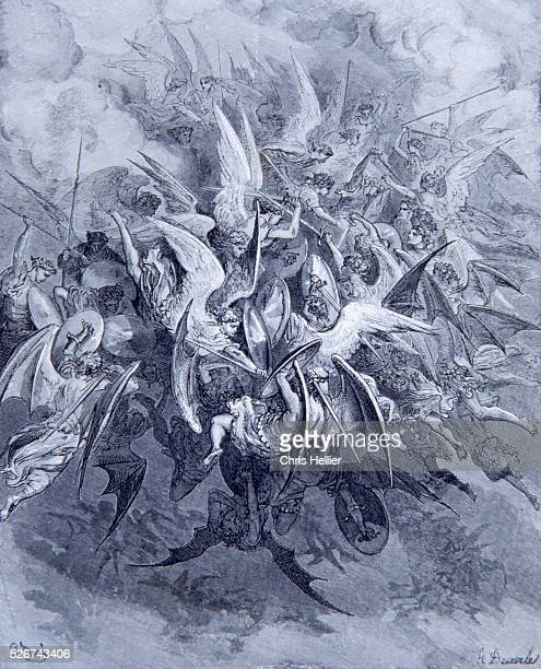 An engraving by the French printmaker Gustave Dore of Battle of the Angels a scene from John Milton's Paradise Lost
