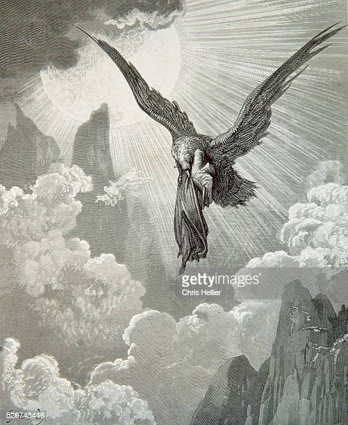 An engraving by the French printmaker Gustave Dore of Dante and the Eagle, a scene from Dante's Purgatory.