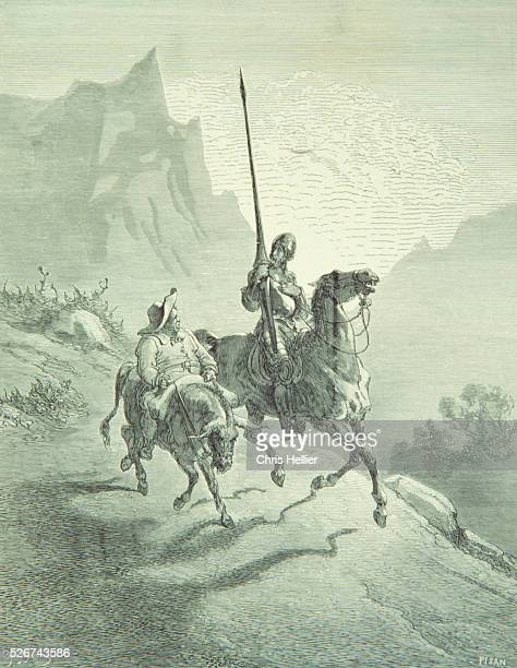 An engraving by the French printmaker Gustave Dore of Don Quixote and Sancho Setting Out a scene from Miguel de Cervantes' novel Don Quixote