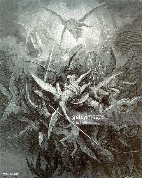 An engraving by the French printmaker Gustave Dore of Fall of the Rebel Angels a scene from John Milton's Paradise Lost