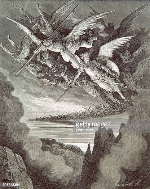 An engraving by the French printmaker Gustave Dore of Fallen Angels a scene from John Milton's Paradise Lost